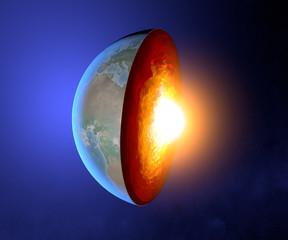 Nucleo terrestre, terra, mondo, spaccato, geofisica