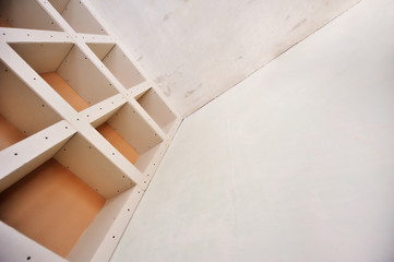 sheetrock or drywall background. The design of the interior dr