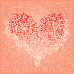 St.Valentine Love Red Hearts Card 5 background (EPS-8)