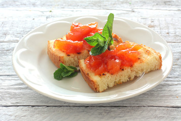 Toasts with fruit jam