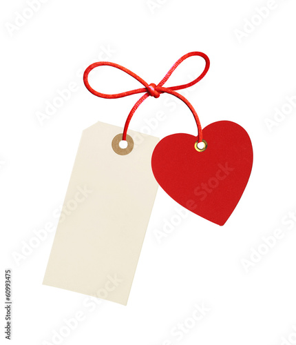 label (tag) and red heart isolated on white background