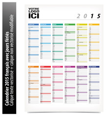 Calendrier 2015 modifiable