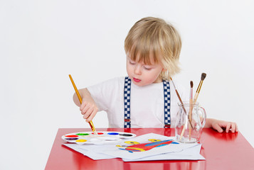 Cute toddler drawing with colorful water painting