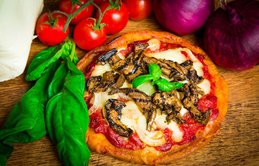 Homemade pizza with onions and grilled aubergines