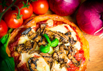 Homemade pizza with grilled vegetables