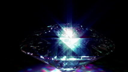Beautiful spinning sparkling diamond ray traced with caustic