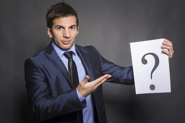 Businessman holding paper show question mark