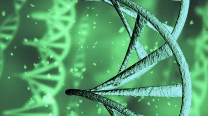 DNA. Green background