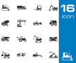 Vector black construction transport icons set