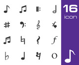 Vector black notes icon set