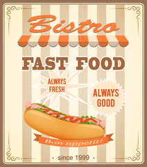 banner for bistro with hot dog