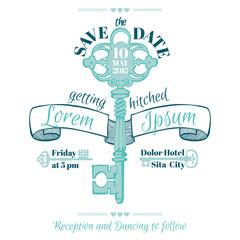 Wedding Vintage Invitation Card - Key Theme - in vector