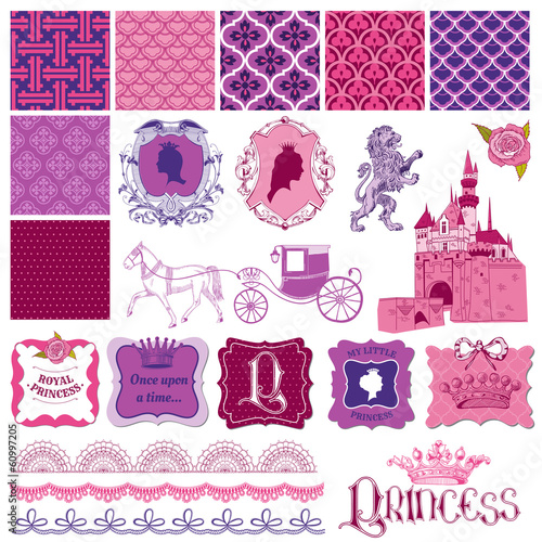Scrapbook Design Elements - Princess Girl Birthday Set