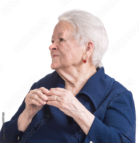 Old woman with painful fingers