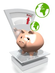 money pig with world on a scale
