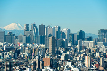 Skyscrapers in the Shinjuku Ward of Tokyo with Mt. Fuji