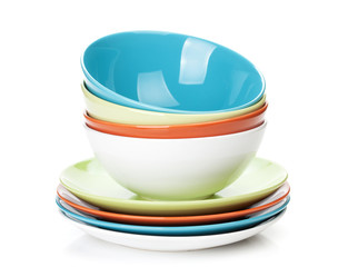 Colorful bowls and plates