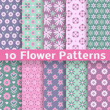 Fototapety Romantic flower different vector seamless patterns (tiling)