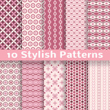 Stylish vector seamless patterns (tiling). Pink color
