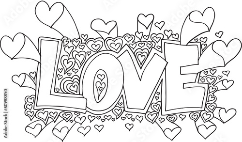 Romantic Love Doodle Vector Illustration Art