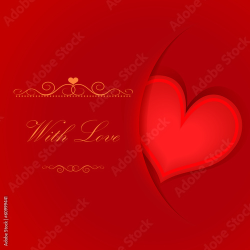 Valentine's day red card with heart shape