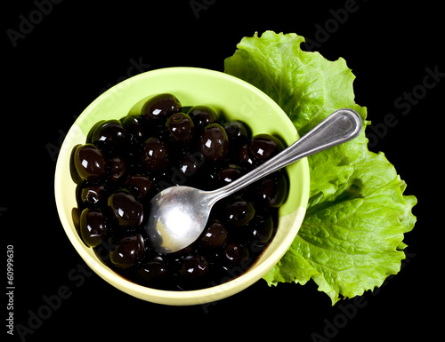 Black olives and lettuce.