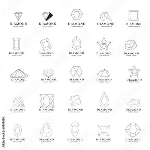 Diamond Icons Set - Isolated On White Background