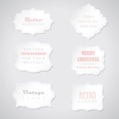 Set of retro paper banners with place for your text