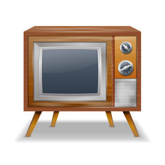 Retro TV in the wooden case - isolated on white background