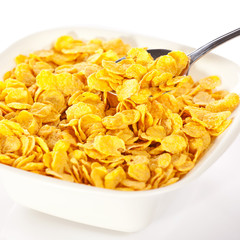 Spoonful of cereal corn flakes