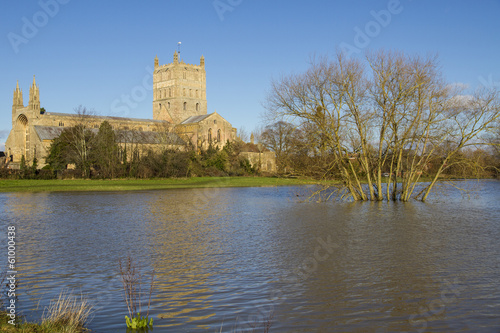 Flood water surrounding Tewksbury Abbey