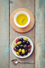 Different kinds of olives