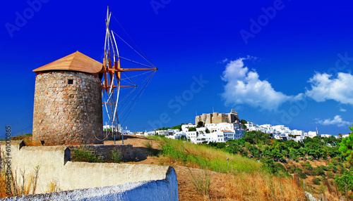 scenic Greece . Patmos island. view of Chora and windmills
