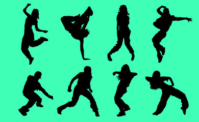 Silhouettes of Hip Hop dancers - Illustration