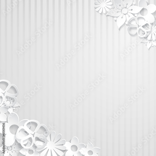 Background with paper flowers, white on white stripes