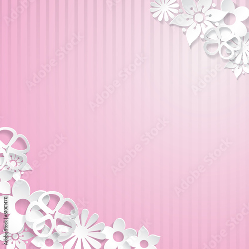 Background with paper flowers, violet on pink stripes