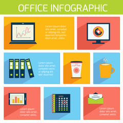 Office infographics flat business template