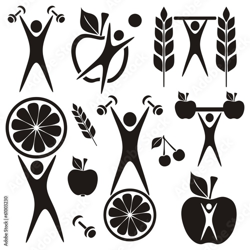 Health and food symbols