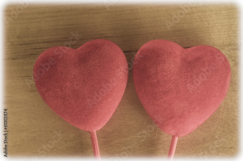 Velvety Hearts on Wood - Retro