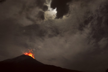 Night eruption. Tungurahua Volcano, Banos, Cordillera Occidental