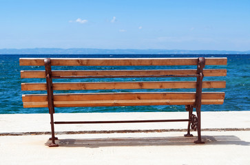 Wooden bench on the beach