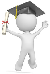 Dude the Student with hat Jumping of joy holding diploma.