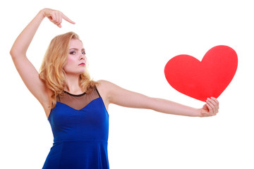 Red heart. Love symbol. Woman hold Valentine day symbol.