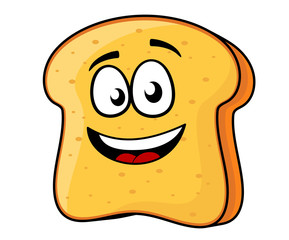 Slice of bread or toast with a beaming smile