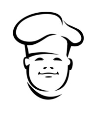 Face of a smiling chef in a toque
