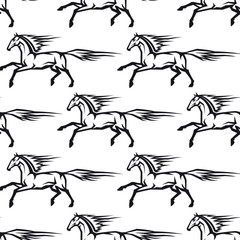Seamless pattern of galloping horses