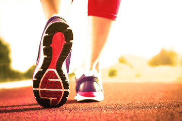 Close up of running shoes in use