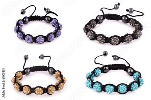 Popular Buddhist bracelet shamballa on a white background.