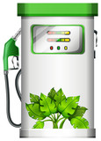 A gasoline pump with plants