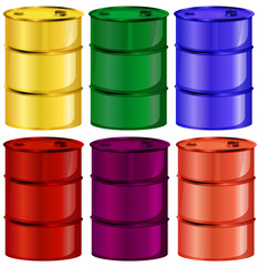 Six colorful barrels